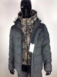 New-Mens-Moncler-Guyenne-Herringbone-Down-Jacket-Size-6-Charcoal-Authentic