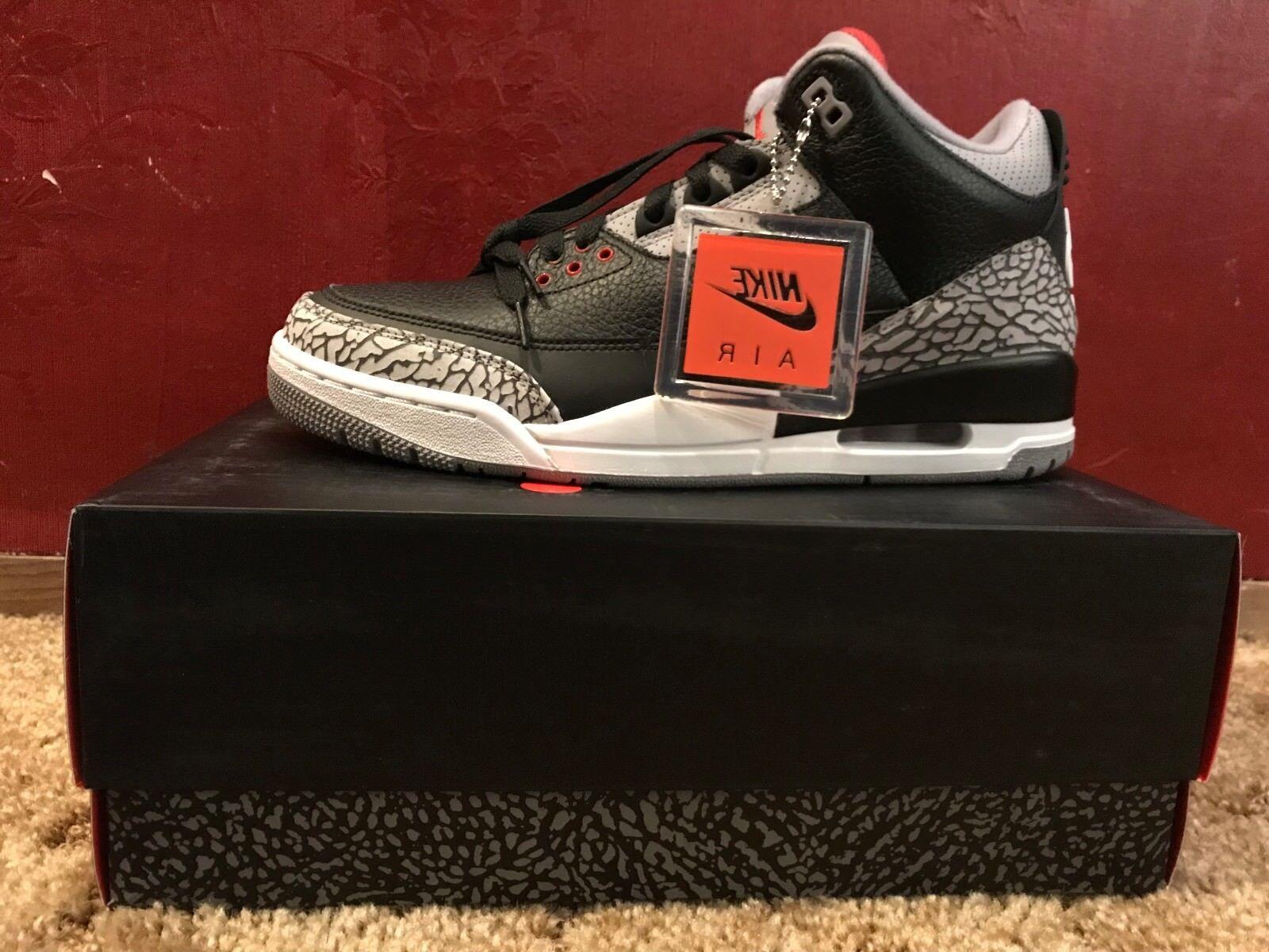 Nike AIR JORDAN RETRO 3 BLACK CEMENT Size 10 SHIPS NEXT DAY