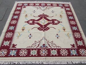 Old-Traditional-Hand-Made-Oriental-Indian-Cream-Wool-Square-Kilim-203x202cm