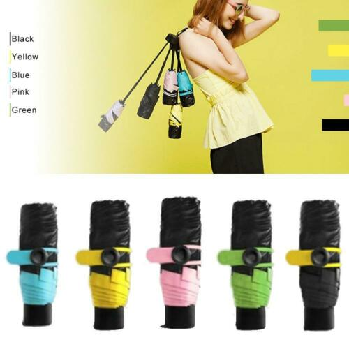 Ladies Girls Mini Pocket Umbrella Sunny Rainy Compact Folding Small Black BT
