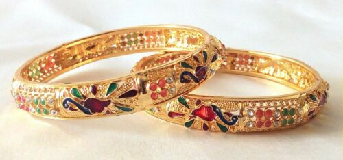 Indian Jewelry Bangles Royal Set Indian Ethnic Gold Plated Set of 2 size 2.6