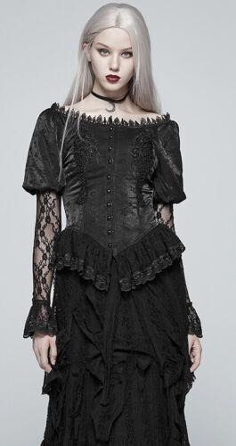 Satin Bluse Hemd Gothic Lolita Victorian Baroque Spitze Perlen Korsett PunkRave