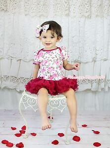 Valentine Romantic Rose Bodysuit White Pettiskirt Baby Dress /& Bow Clip NB-18M