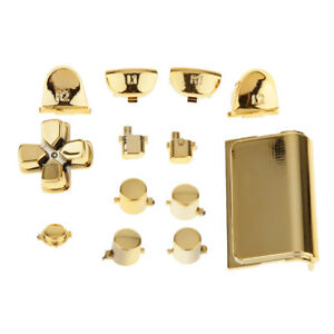 Gold-Chrome-Replacement-Full-Buttons-Set-For-PS4-Playstation-Controller