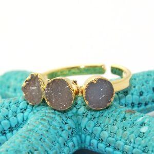 Ovale Multi Hydro Quartz 24k Plaqué or Prong Réglable Anneau Handamde Jewelry