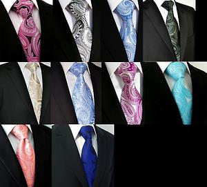New Blue Black Paisley Design 100/% Silk Tie Jacquard Woven Floral Hologram