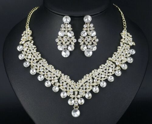 Bridal Wedding Necklace 2pc Set Light Gold Jewellery Luxury Party Crystal