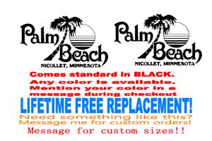 Lifetime Warranty Set of 11 x 18 inch Palm Beach Boat hull logo Decal