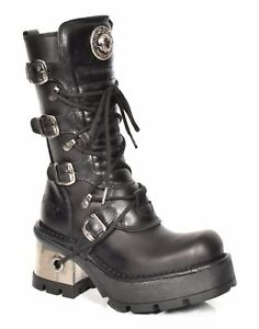 New Rock Leather Boots Lace up Buckle