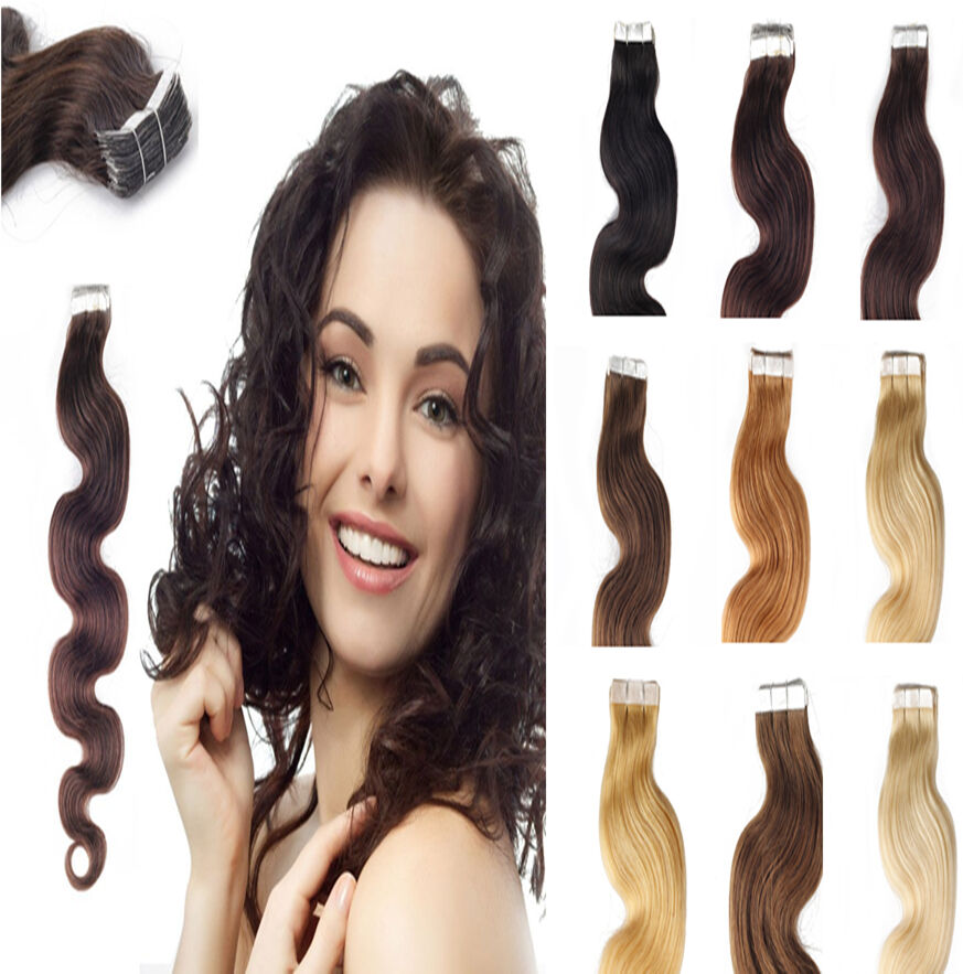 Body Wavy Brazilian Virgin Weft Remy Human Hair Extensions Tape In