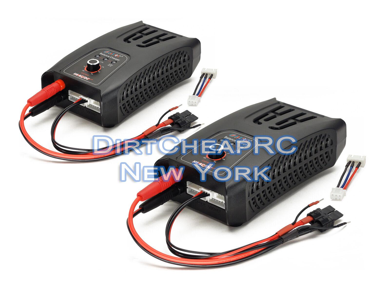 2x Dual H6 AC DC 5Amp 50 vatios TRAXXAS ID 2S 3S Lipo NiMH batería cargador de equilibrio