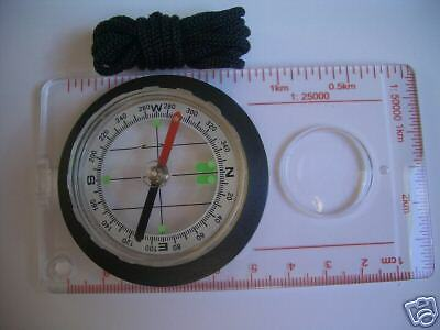 Orientering Compass magnifying glass Scale reader with neck strap