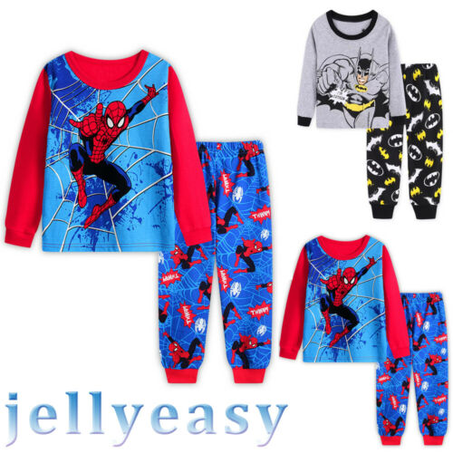 Baby Kids Boys Girls Cartoon Superhero 2pcs Cosplay Outfit Nightwear Pajamas Set