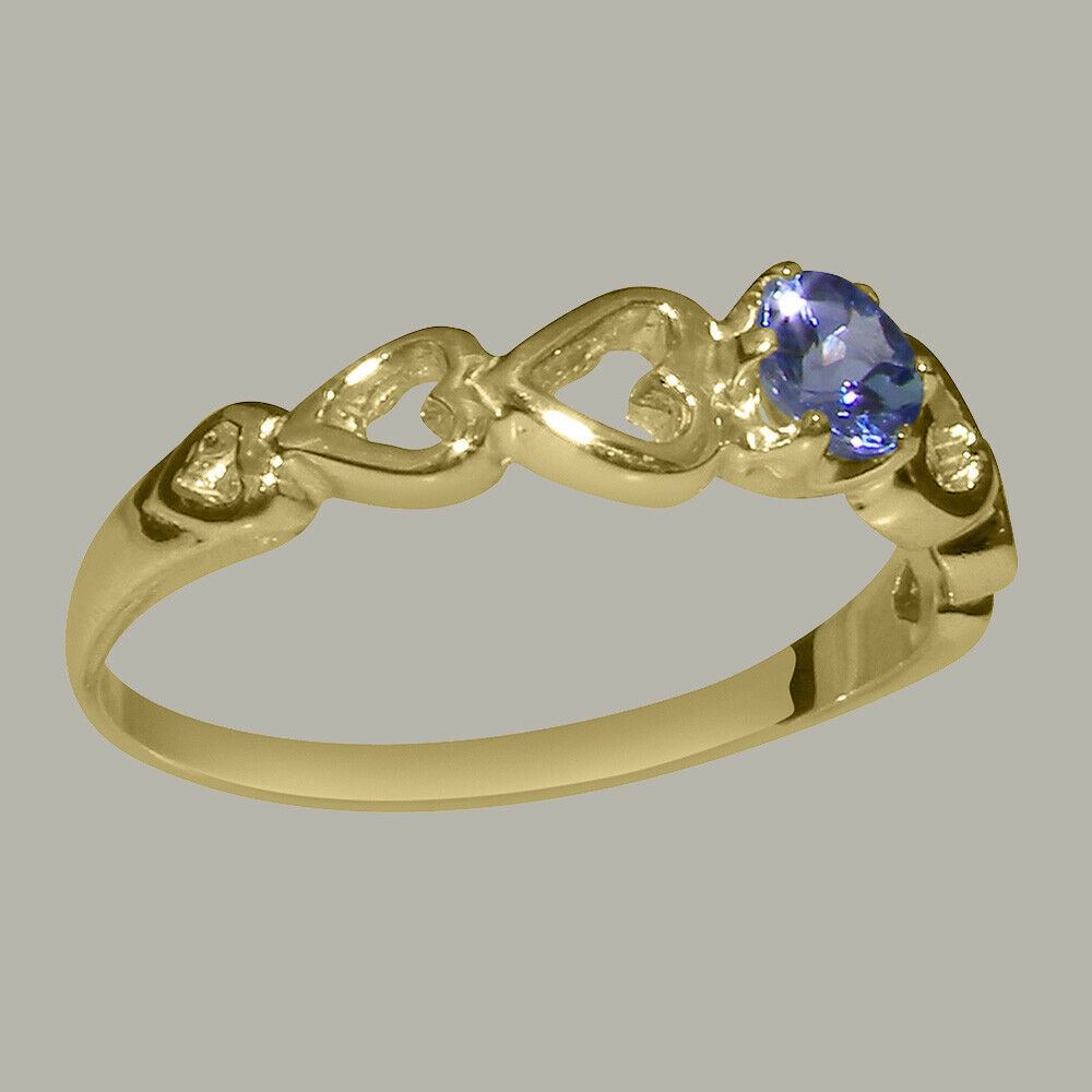 Solid 9ct giallo oro Natural Natural Natural Tanzanite donna Solitaire Ring - Dimensiones J to Z b2fb86