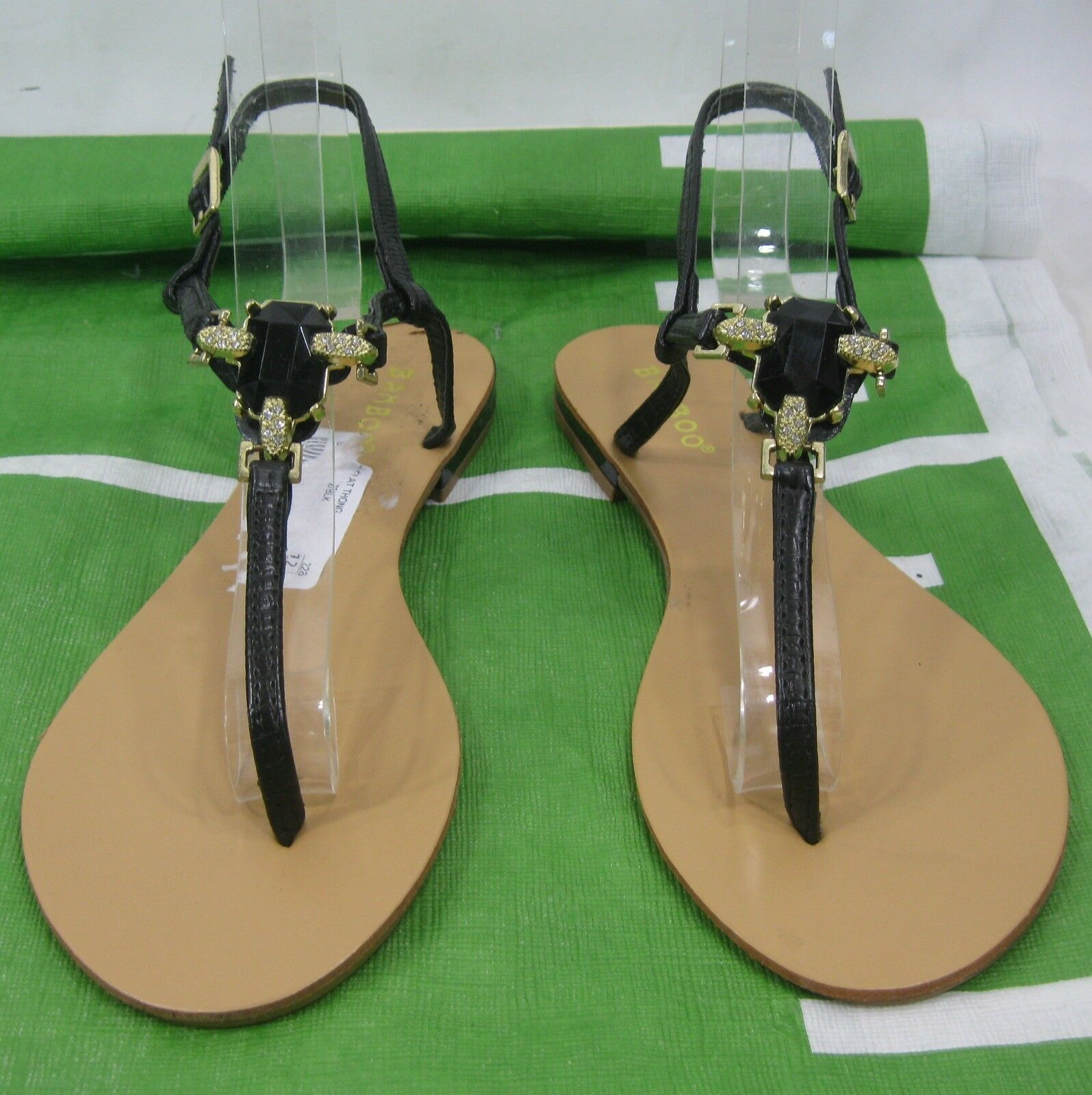 Summer Black Rhinestone Sexy Womens Shoes Ankle Strap Sexy Rhinestone Sandals Size 6 20c356