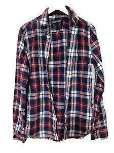 Superdry-Mens-Long-Sleeve-Shirt-Checked-Red-Blue-Size-Small-S-D232