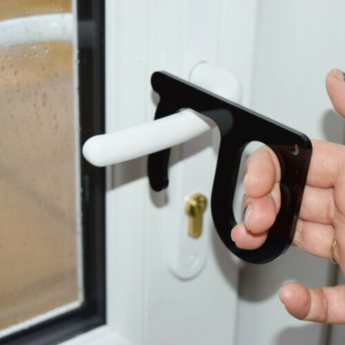 Hands free door opener Button push tool Hands-off door opening tool