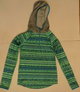 Details about Girls Blue \u0026 Gray Nike Pro Hoodie Size XL Or 14 Long Sleeve  1/4 Zip