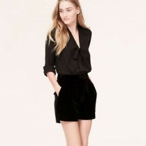 Nwt Taylor Ann Sheer Shorts Sleeve Long Neck Loft 10 Romper Tie Velvet Black UOUBxq5r