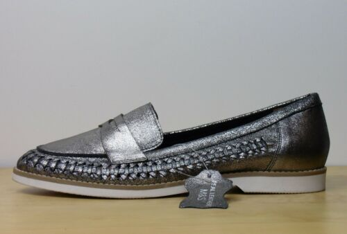 M/&S Real LEATHER Open Weave LOAFERS ~ Size 7.5 ~ PEWTER Metallic