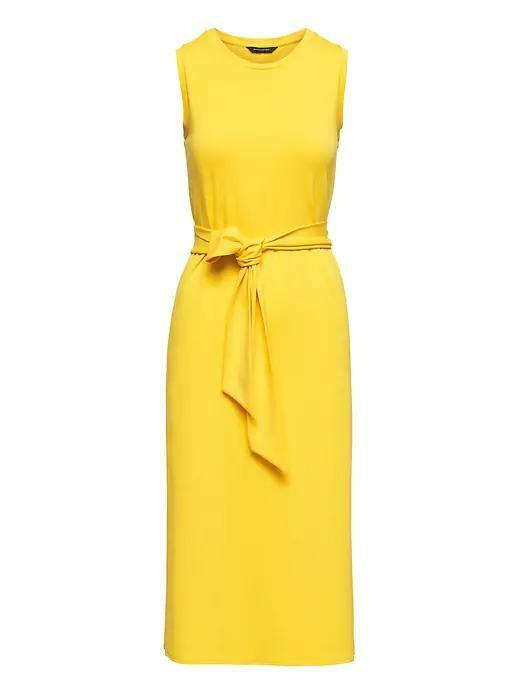Banana Republic Soft Ponte Midi Tank Dress w Side Slits,Gelb Größe S  E