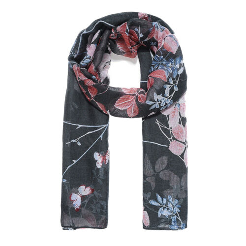 L180xW70cm-CS146 NEW-Womens Pretty Multi Black Leaf Floral Print Scarf