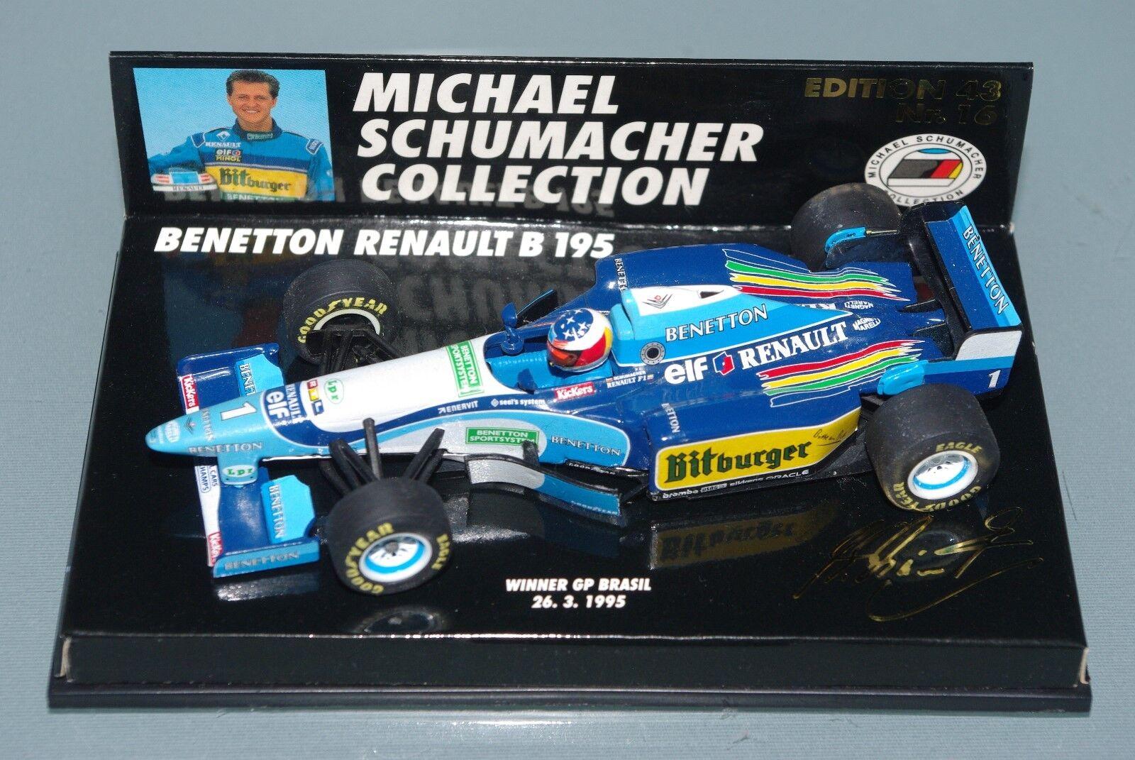 À la fin de l'année, je re erai à l'événeHommes t. Minichamps F1 1/43 Benetton Renault B195-Schumacher-Winner GP Brasil 1995 | Outlet  | Online Store  | Vente Chaude