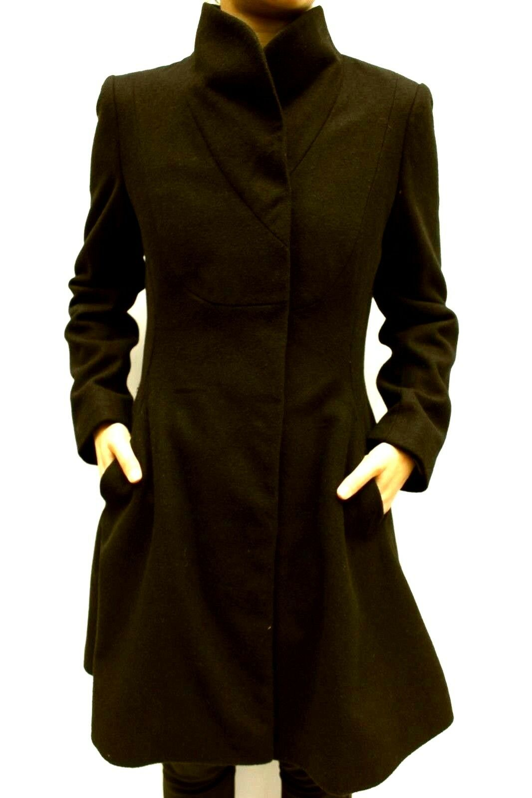 ASOS Khaki Wool Fit Flare Popper Funnel Trench Military Winter Coat Size 6 to 18