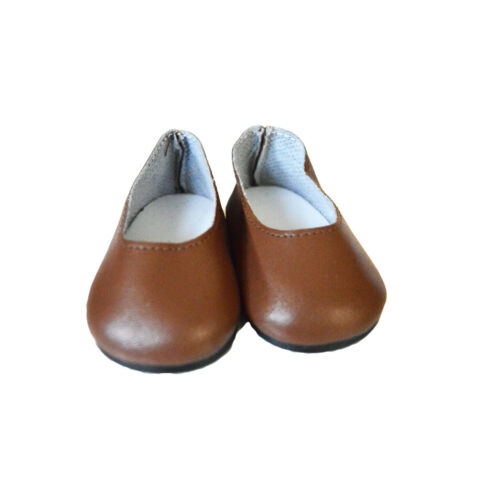 Brown Matte Flats for Wellie Wisher Dolls 14.5 Inch Doll Shoes
