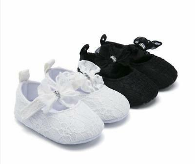 Newborn Baby Girl Bowknot Pram Shoes Infant Princess Party Dress Shoes 0-18 M