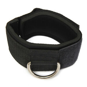 Ankle-Strap-D-ring-Gym-Cable-Attachment-Thigh-Leg-Pulley-Weight-Lifting-Black-AD