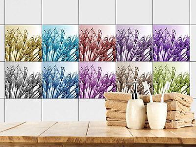 Fliesendekoration Fliesenfolie Badezimmer Blüten Gräser Wassertropfen bunt