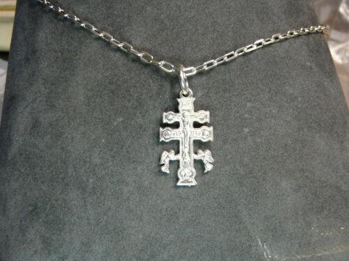 CROCE di CARAVACA in argento 925 Sterling silver Catena  40 cm con