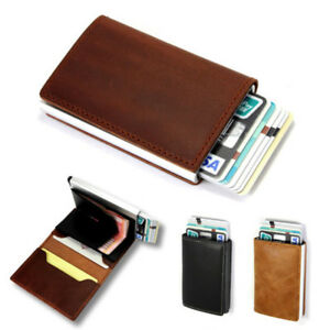 0b109c598878 Genuine Faux Leather Credit Card Holder RFID Blocking Pop-up Wallet ...