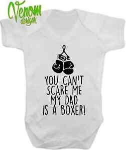 a256a4737 Can t scare me my dad s a boxer baby vest grow boxing punch bag pink ...