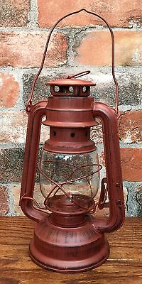 Primitive Rustic Red Tin Metal Decorative Large Railroad Lantern