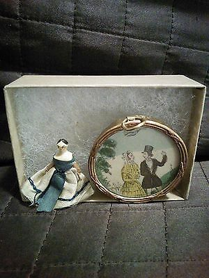 Antique 1800s Grodnertal Peg Doll & Georgian Dollhouse Picture Jane Austen