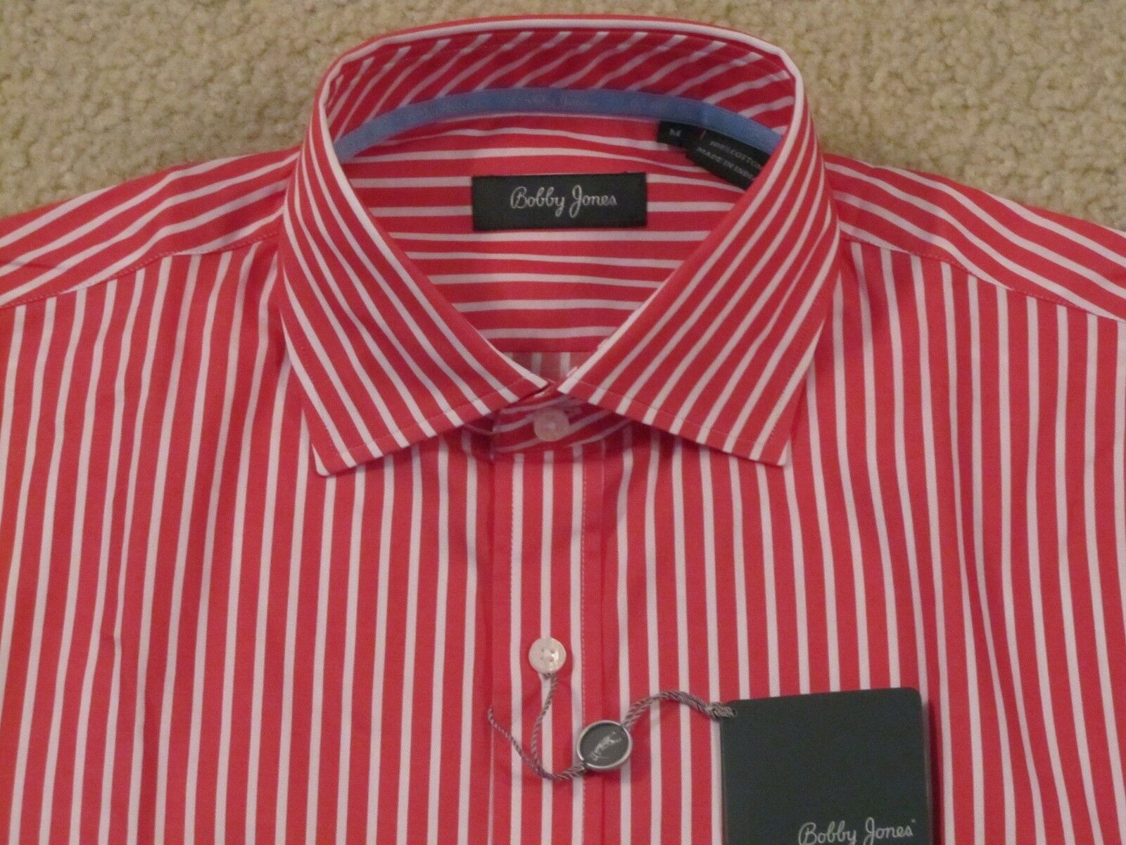 BOBBY JONES COTTON DRESS SHIRT -MADE IN INDIA - MEDIUM -NEWwTAGS- FREE SHIP