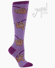 Sloth Knee High Socks - Sock It To Me Purple Monkey Funky Socks novelty Derby