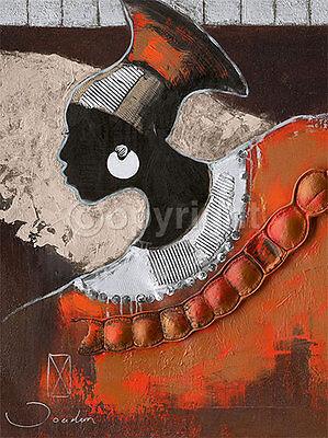 Joadoor: Shape of Silver Afrika Fertig-Bild 60x80 Wandbild Afrikanerin