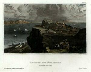 Lisbon-Portugal-Lisboa-c-1850-Meyer-engraved-city-view-beautiful-hand-color