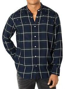 INC-NEW-Blue-Mens-Medium-M-Star-Studded-Button-Down-Windowpane-Shirt-65-118