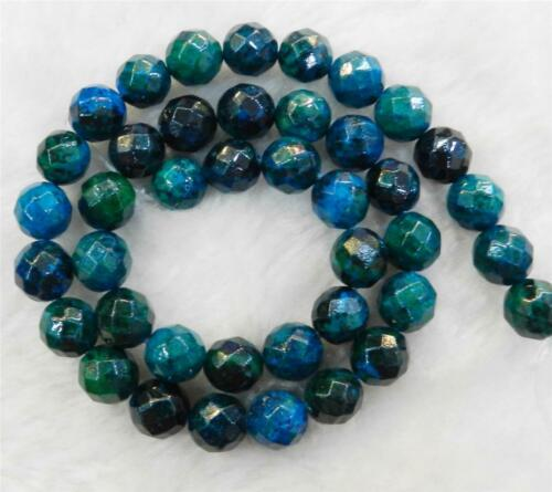 "8mm Faceted Azurite Chrysocolla Gemstones Round Loose Beads 15/""##HK2033"