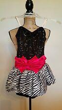 WEISSMAN Girls Sequined Red Black Zebra Dance Jazz Costume Ruffled Sz MC
