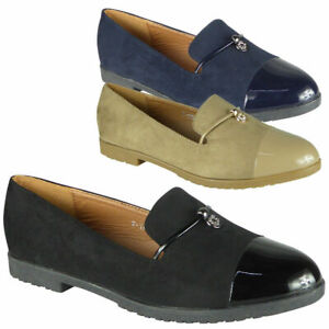 Ladies Loafers Shoes Womens Flats Slip On Faux Suede Work School Office  Size   eBay