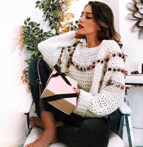Jumper Work Size With Ecru Loose Sweater Knit Fit S Open Pompom Details Zara w4P0IxqHP