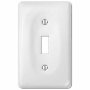 Wall Switch Plate Cover White Ceramic Outlet Toggle Decora Rocker