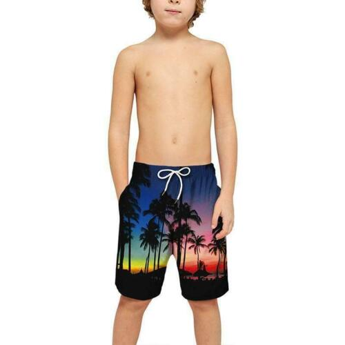 Mens Kids Boys 3D Printed Shorts Pants Teenager Swimwear Beach Trunks Trousers