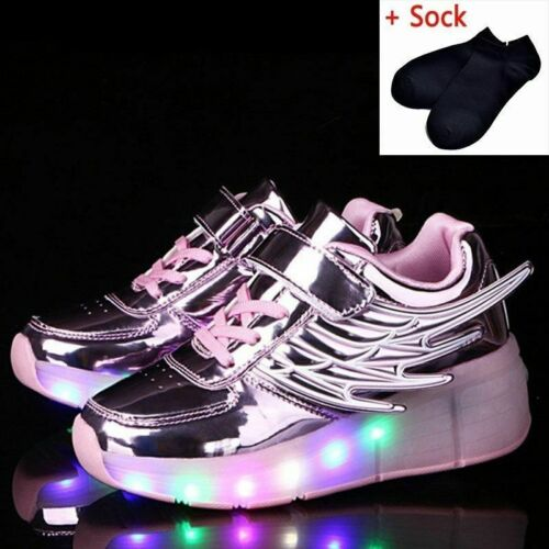 Boys Girls Luminous Sneakers Kids Roller Children LED Glowing Shoes With Wheels
