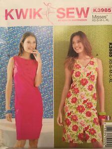 Kwik-Sew-Pattern-K3985-Misses-Sleeveless-Sheath-Dresses-Sz-XS-S-M-L-XL-Uncut